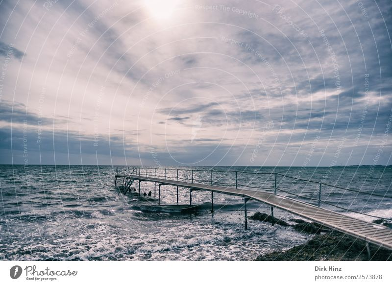 Bathing jetty near Marstal on the Danish island of Aerö Vacation & Travel Environment Nature Landscape Elements Water Sky Clouds Horizon Weather Waves Coast