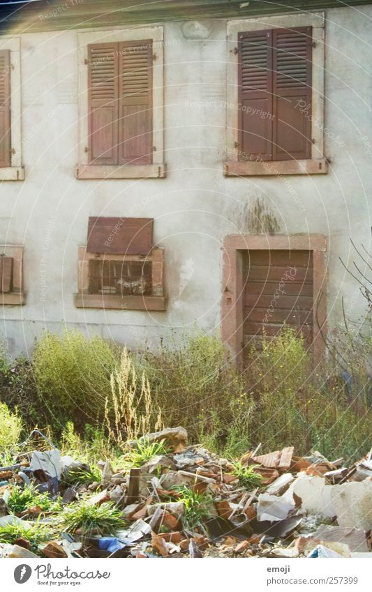 DIRT Outskirts House (Residential Structure) Detached house Wall (barrier) Wall (building) Facade Window Old Trash Derelict Garbage dump Colour photo