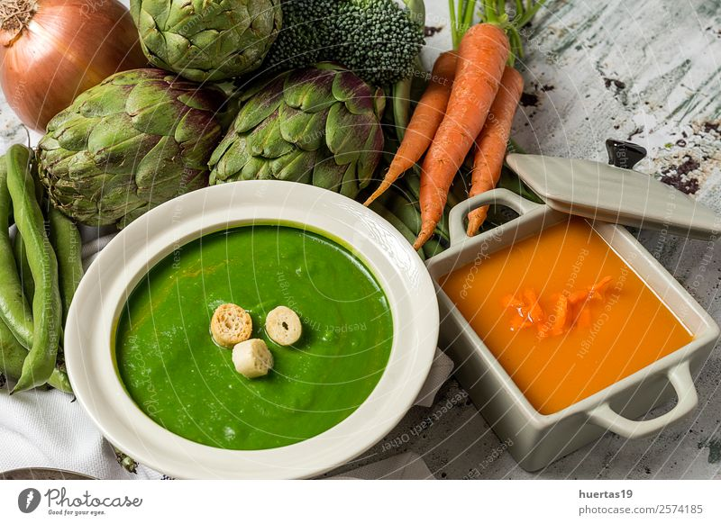 Green vegetable cream soup Food Vegetable Soup Stew Lunch Dinner Vegetarian diet Diet Fresh Healthy Delicious Natural Orange Detox fried bread flavor
