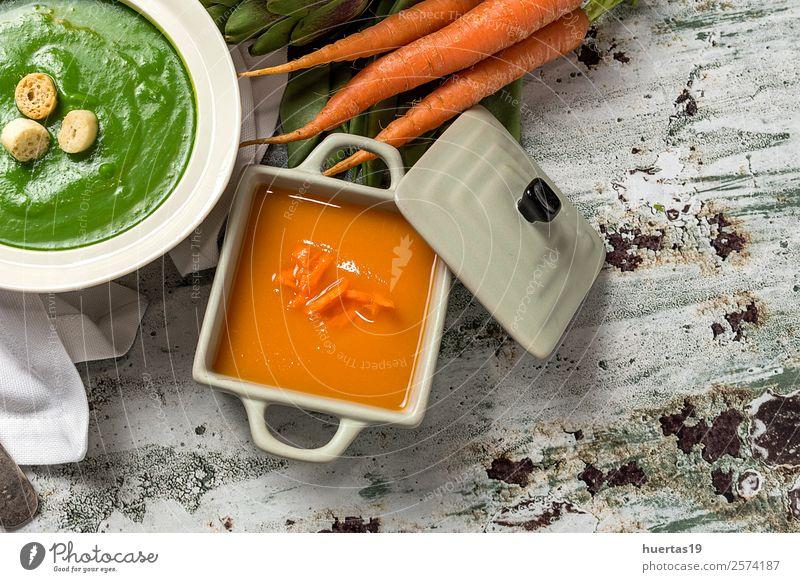 Green vegetable cream soup Food Vegetable Soup Stew Lunch Dinner Vegetarian diet Diet Style Healthy Eating Fresh Natural Above Detox fried bread flavor