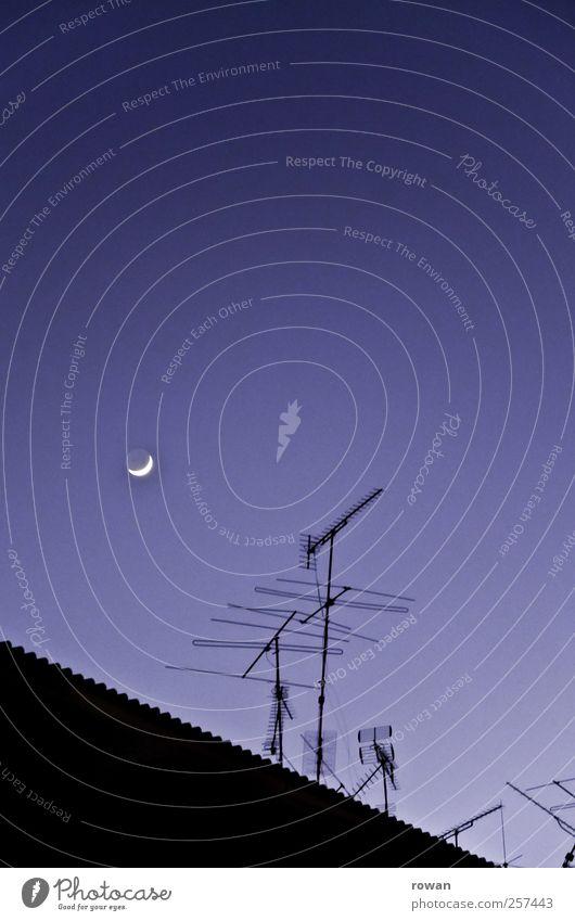 good night Sky Cloudless sky Night sky Moon Living or residing Antenna Radio technology Roof Sleep Dark Blue City life Colour photo Exterior shot Deserted