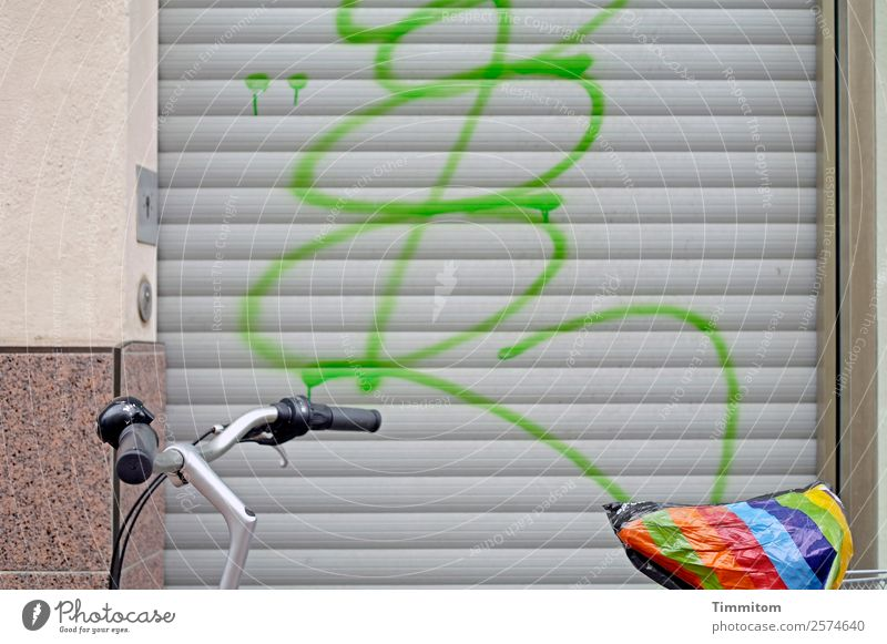 Citybike - partial view Bicycle Town House (Residential Structure) Wall (barrier) Wall (building) Stone Metal Plastic Graffiti Line Multicoloured Gray Green