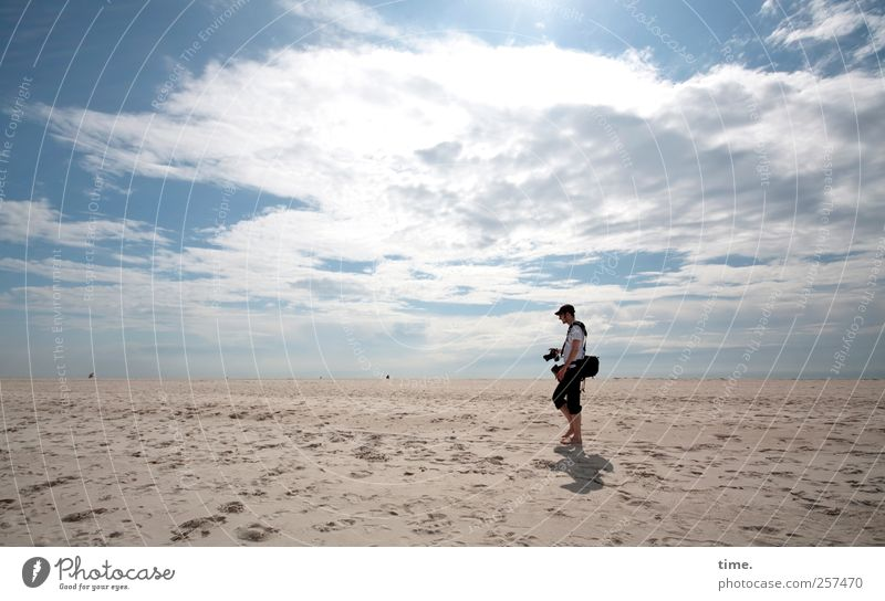 Human being Sky Man Beach Clouds Adults Environment Coast Horizon Moody Body Contentment Masculine Transience Camera North Sea
