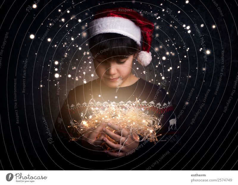child with Christmas lights Child Human being Christmas & Advent Joy Winter Lifestyle Emotions Feasts & Celebrations Think Masculine Infancy Smiling Happiness