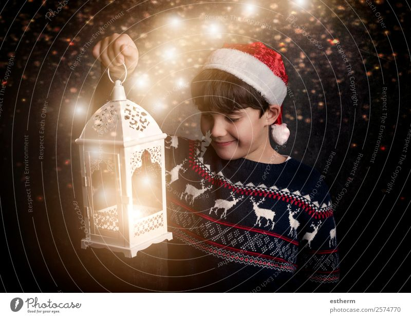 Happy child on Christmas eve Child Human being Christmas & Advent Joy Winter Lifestyle Funny Emotions Movement Feasts & Celebrations Masculine Infancy Smiling
