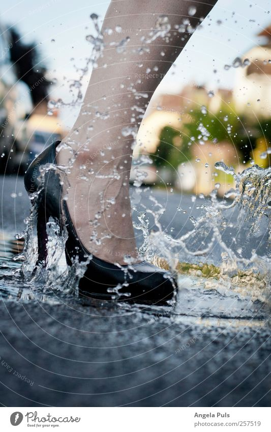 straight Human being Feminine Legs Feet 1 Street Fashion High heels Puddle Water Walking Colour photo Exterior shot Day Woman's leg Women`s feet Splash of water
