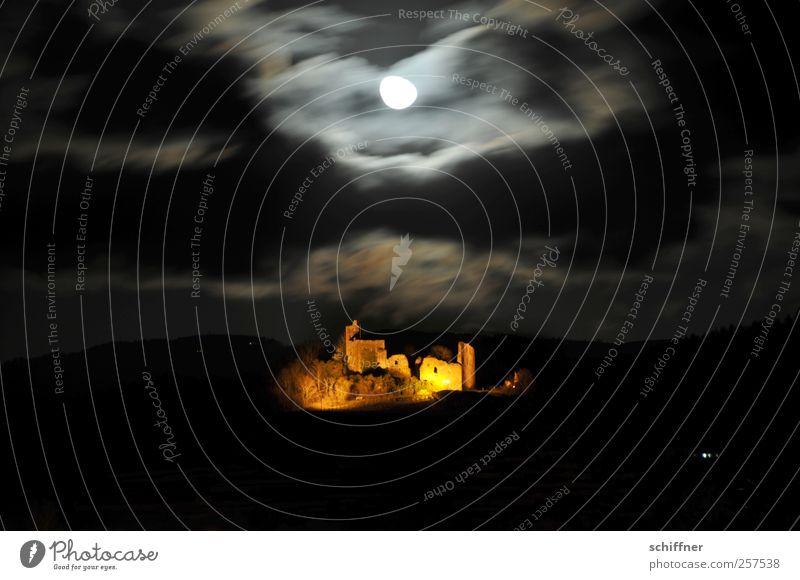 Clouds Wall (building) Wall (barrier) Lighting Wind Historic Gale Monument Moon Ruin Illuminate Tourist Attraction Night sky Night shot Clouds in the sky