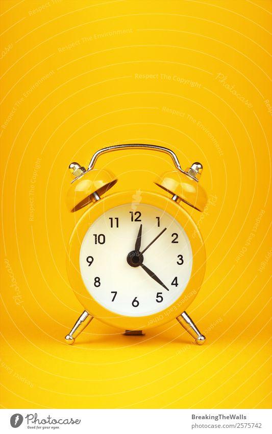 Close up one small yellow metal twin bell retro alarm clock Style Design Clock Metal Sleep Hot Retro Yellow Colour Tradition Twin Conceptual design