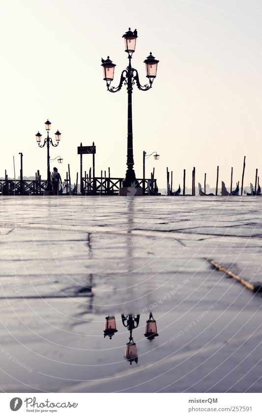 Vacation & Travel Art Esthetic Tourism Floor covering Romance Italy Lantern Footbridge Jetty Puddle Venice Mediterranean sea Port City Lamp post City trip