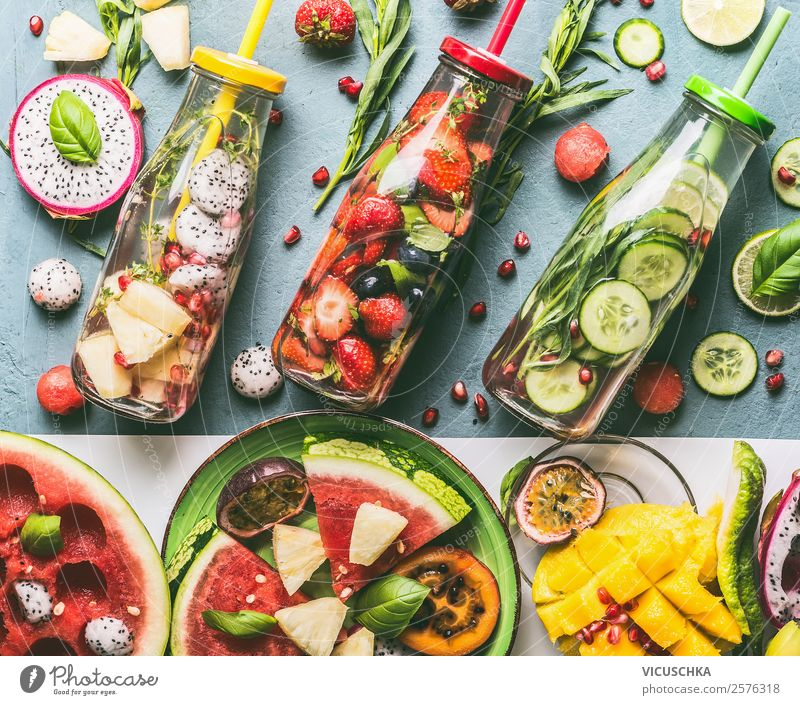 Healthy drinking with Infused Water Food Vegetable Fruit Apple Orange Herbs and spices Nutrition Organic produce Beverage Cold drink Drinking water Design
