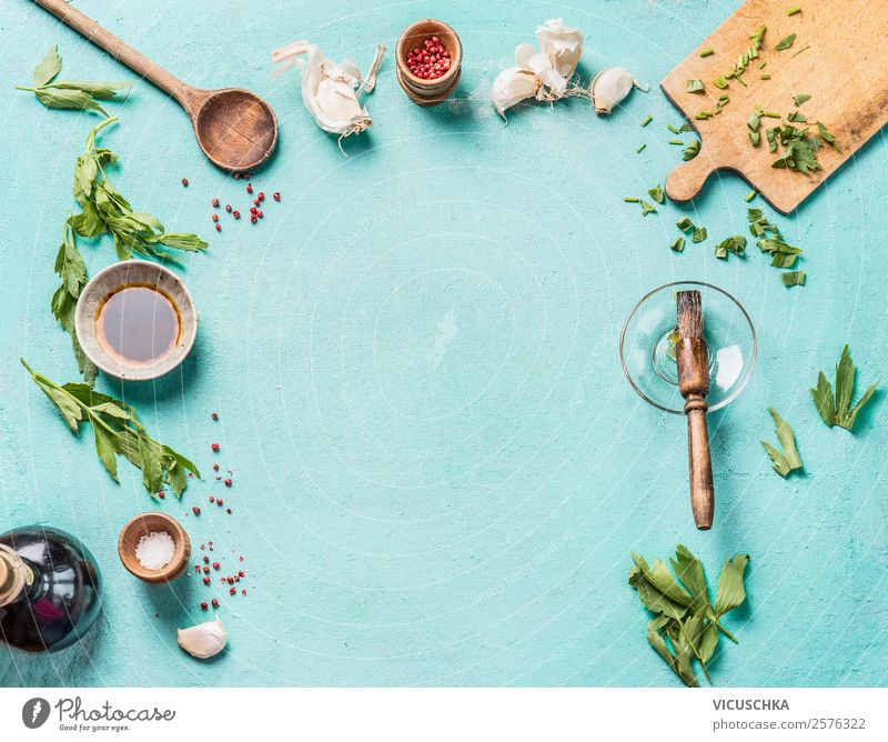 Food and Cooking Background Frame Herbs and spices Cooking oil Nutrition Crockery Shopping Style Design Healthy Eating Table Kitchen Restaurant Wooden spoon