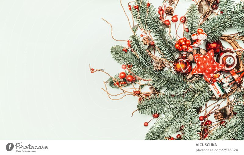 Christmas twigs with red Christmas decoration Style Design Winter Decoration Feasts & Celebrations Christmas & Advent Ornament Tradition Background picture