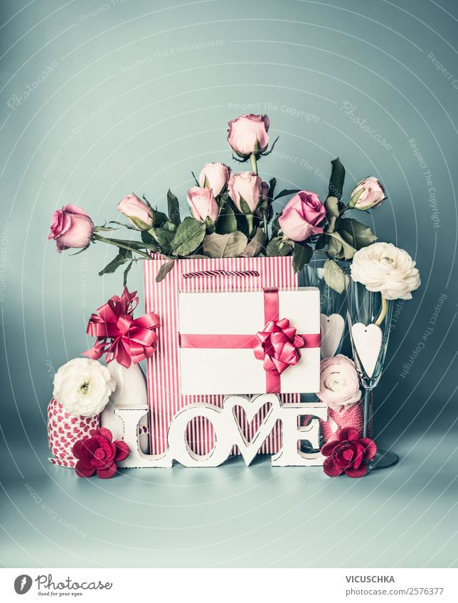 Festive composing with gift, flowers and word LOVE Shopping Style Design Decoration Party Event Feasts & Celebrations Valentine's Day Mother's Day Wedding