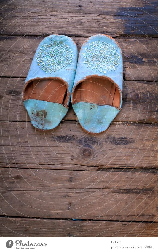 Blue Loneliness Calm Wood Brown Footwear Uninhabited Wooden floor Leather Comfortable Board Morocco Slippers Chalet vacation