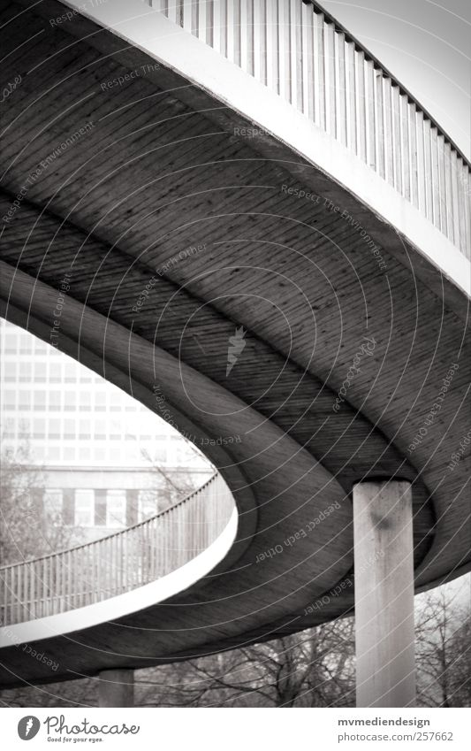 Way up Town Bridge Stairs Traffic infrastructure Overpass Power Bridge pier Sidewalk Duesseldorf Black & white photo Exterior shot