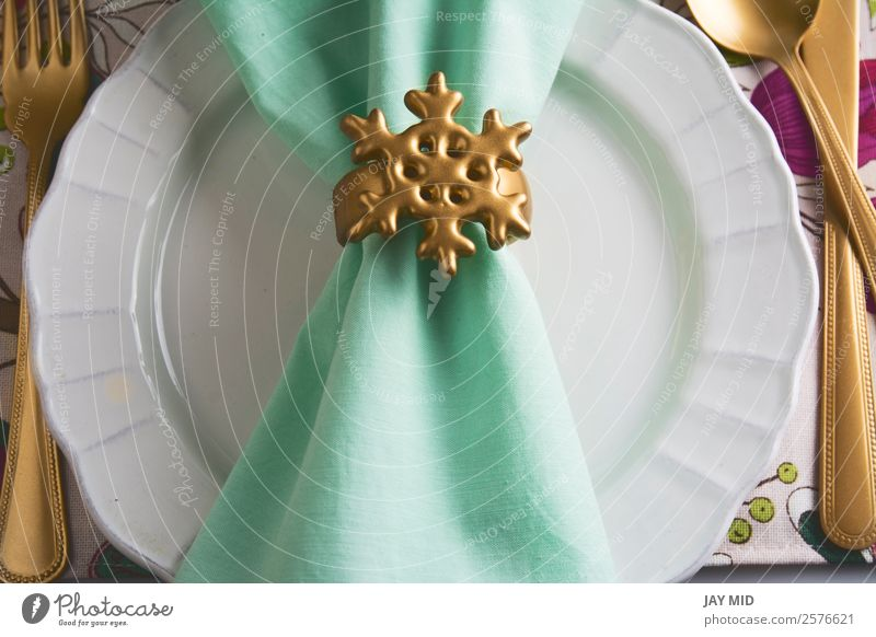 christmas table setting golden napkin holder, snow star Dinner Plate Cutlery Fork Spoon Elegant Decoration Table Feasts & Celebrations Thanksgiving