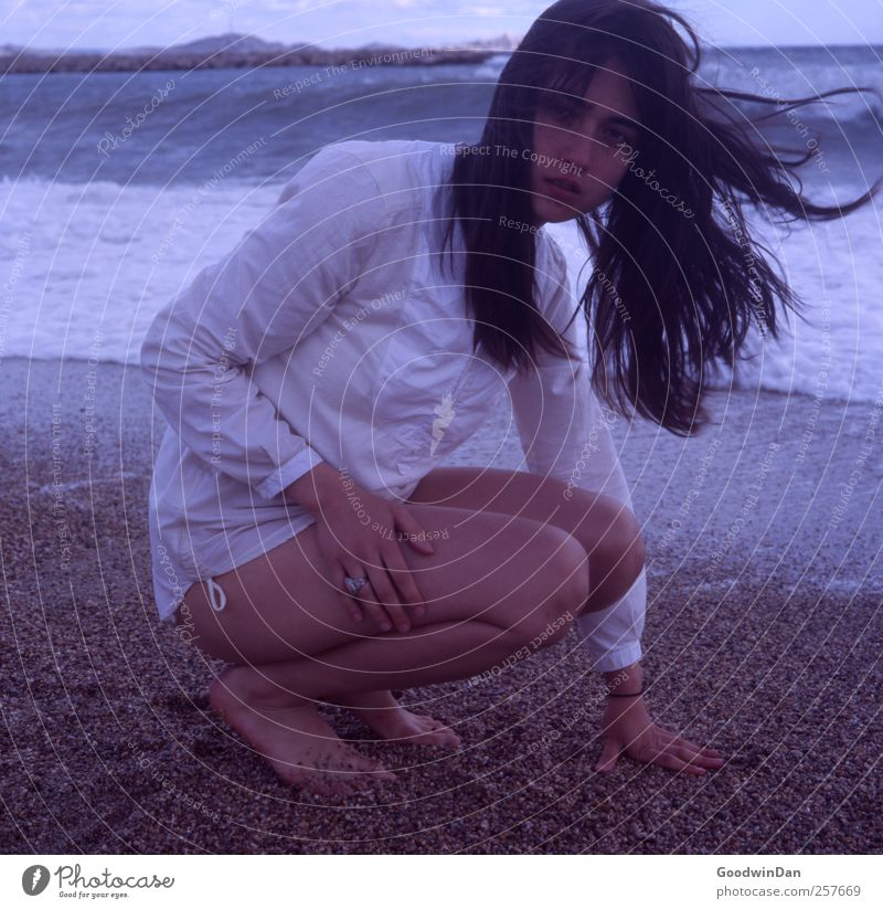 Woman Human being Nature Youth (Young adults) Beautiful Ocean Beach Adults Autumn Feminine Cold Environment Moody Elegant Wait Authentic