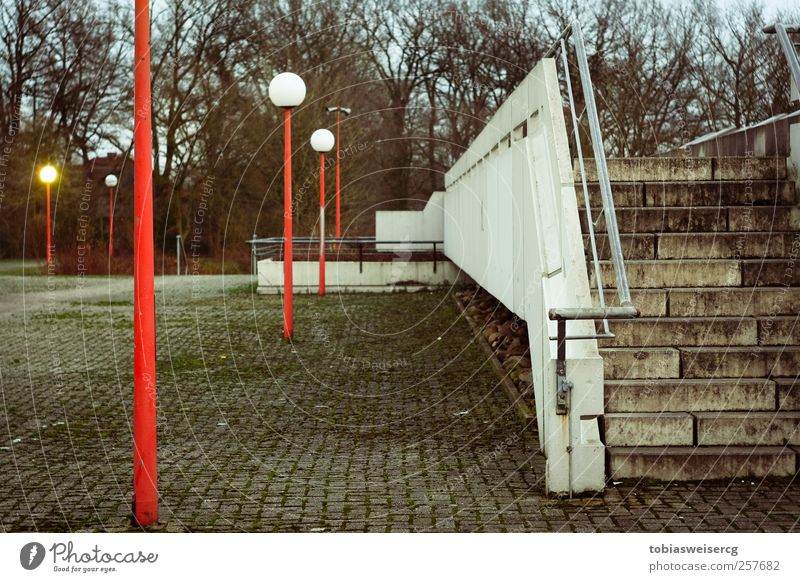 White Red Cold Wall (building) Wall (barrier) Dirty Stairs School building Lantern Moss Lamp post