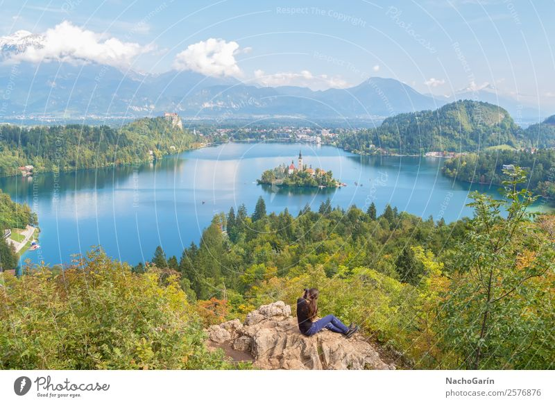Woman photographing the amazing lake Bled, Slovenia Beautiful Vacation & Travel Tourism Island Mountain Adults Nature Landscape Rock Alps Lake Europe Church