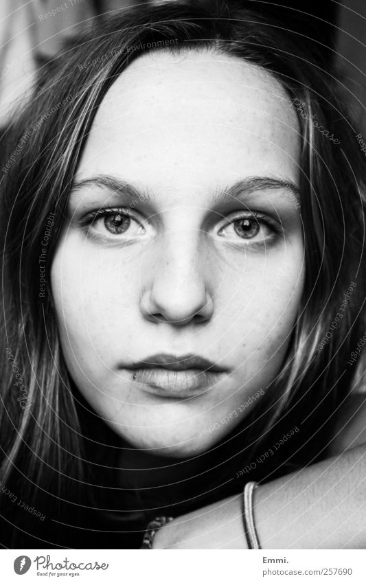 CLEAR Feminine Young woman Youth (Young adults) 1 Human being Esthetic Beautiful Near Emotions Contentment Self-confident Authentic Purity Black & white photo