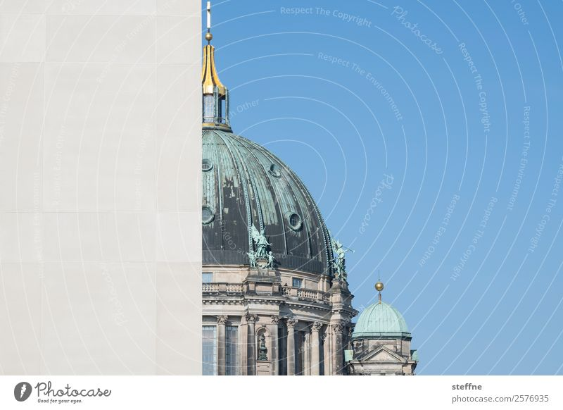 Berlin Cathedral, half covered by the city palace Town Church Dome Facade Tourist Attraction Landmark Religion and faith Oberpfarrkirche zu Berlin