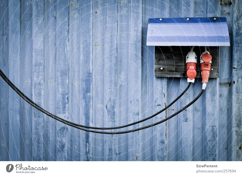 Blue Red Black Wall (building) Building Metal Line Energy industry Electricity Industry Cable Construction site Technology Craft (trade) Trashy