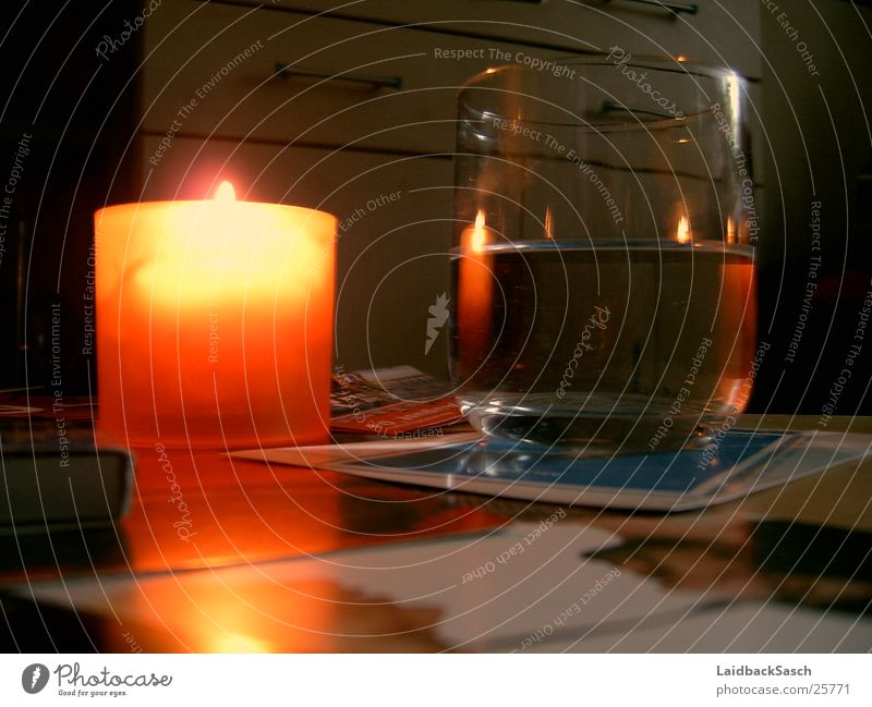 Water Glass Blaze Table Candle Living or residing Flame