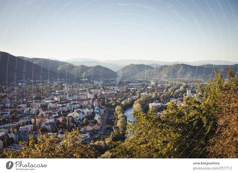 homebase Environment Cloudless sky Autumn Beautiful weather Mountain River Mura Graz Austria Federal State of Styria Town Downtown Authentic Large Natural Many