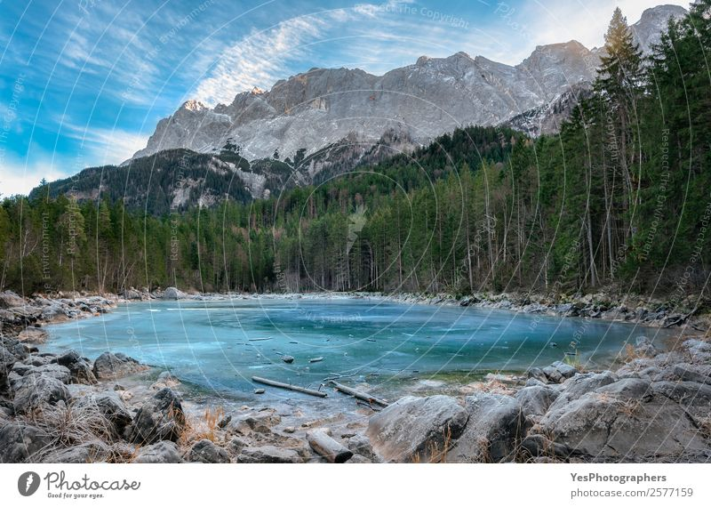 Frozen alpine lake and evergreen forest Winter Winter vacation Mountain Nature Landscape Beautiful weather Ice Frost Rock Alps Peak Lake Blue Green White