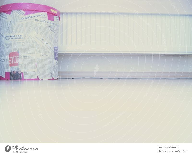 all in white - or at least almost Wastepaper basket White Pink Match Wall (building) Living or residing Heater