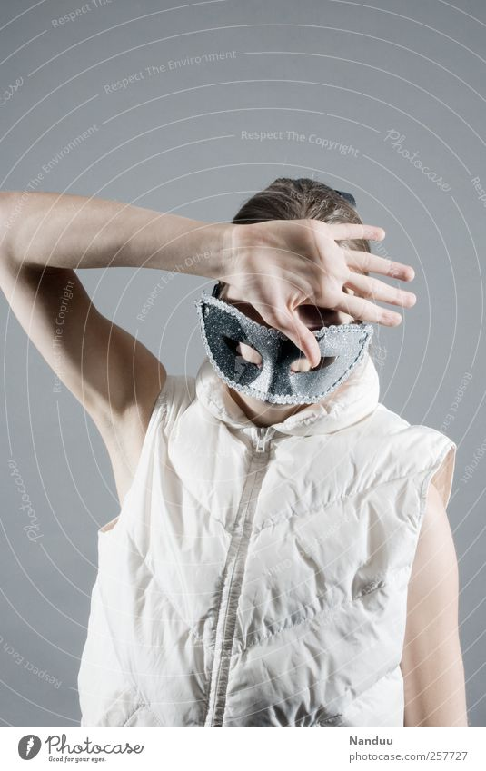 Human being Hand Feminine Bright Mask Mysterious Young woman Hide Anonymous Shame Gesture Concealed Vest Defensive Protective Faceless