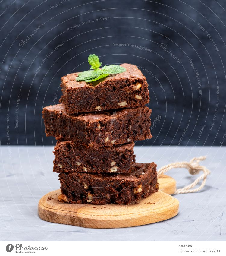 square pieces of brownie pie Dessert Candy Nutrition Table Wood Eating Dark Fresh Delicious Brown Black Baking Bakery brownies cake chocolate cooking food hazel