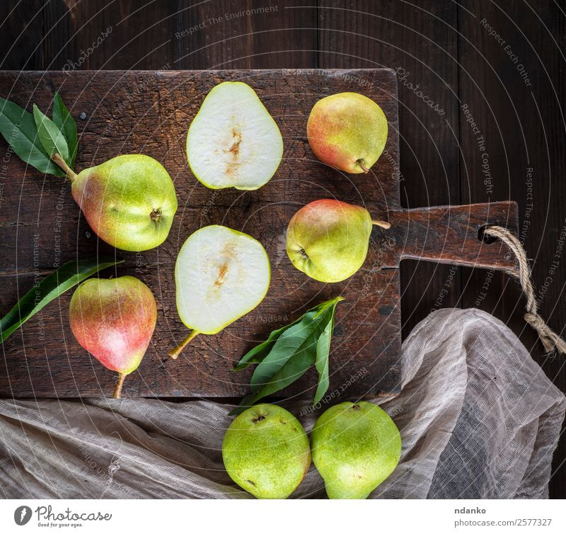 fresh ripe green pears Fruit Vegetarian diet Diet Table Leaf Wood Eating Fresh Delicious Natural Juicy Yellow Green Pear Rustic Vantage point Top Organic food