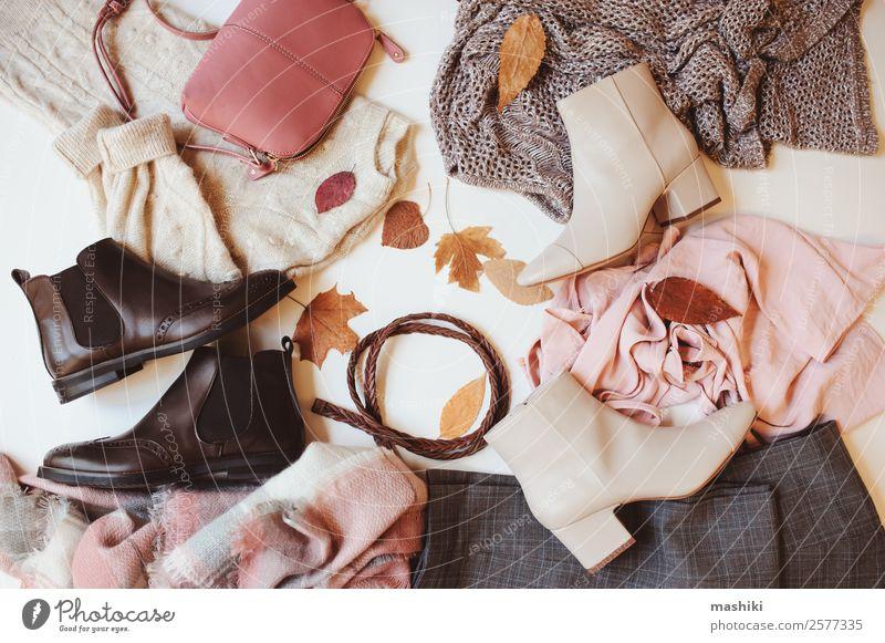 set of seasonal autumn fashion woman clothes Shopping Luxury Style Winter Feminine Woman Adults Autumn Leaf Fashion Clothing Sweater Accessory Footwear Boots