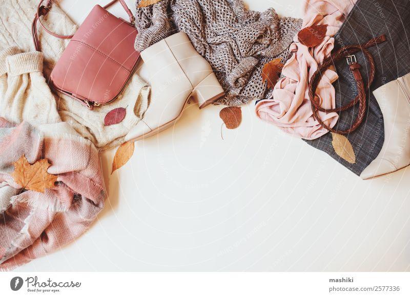 set of seasonal autumn fashion woman clothes Shopping Style Winter Feminine Woman Adults Autumn Leaf Fashion Clothing Sweater Accessory Footwear Boots