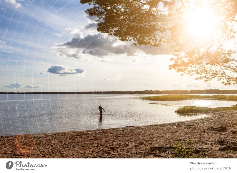 Baltic Sea in North Sweden Vacation & Travel Far-off places Freedom Camping Summer Summer vacation Beach Ocean Human being Feminine Woman Adults Elements Water