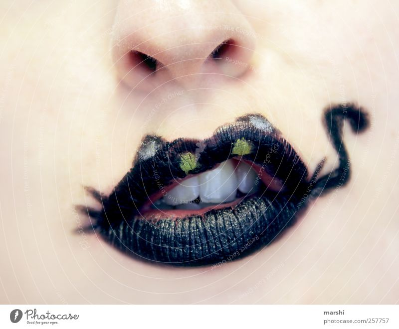 meow Style Human being Feminine Skin Face Nose Mouth Lips Black Lipstick Purr Cat Meow Teeth Pallid Pale blue Make-up Carnival Painted Colour Animal face