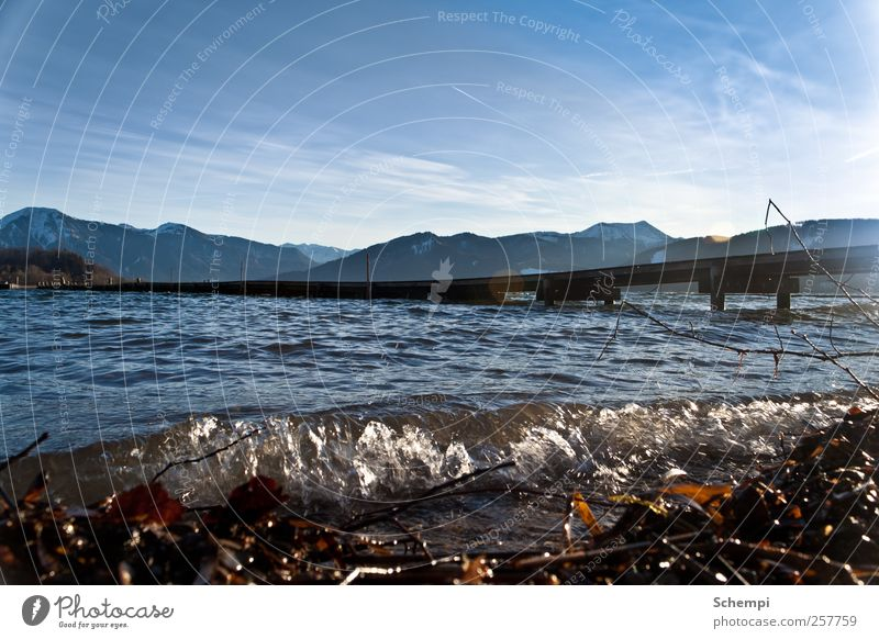 Sky Water Cold Landscape Mountain Lake Waves Earth Wet Natural Drops of water Alps Peak Lakeside Snowcapped peak Tegernsee