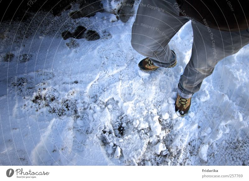 snow trail Hiking Human being 1 Nature Winter Ice Frost Snow Pants Jeans Footwear Hiking boots Going Stand Cold Blue Gray White Adventure Colour photo