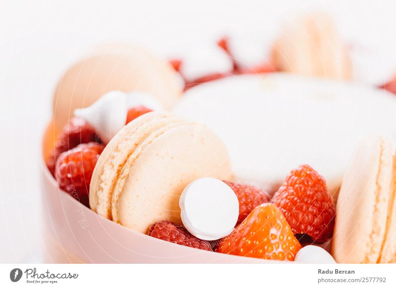 Macaron And Strawberry Birthday Cake Background picture French Dessert Multicoloured Food Sweet Delicious White Pink biscuit Snack Confectionary France