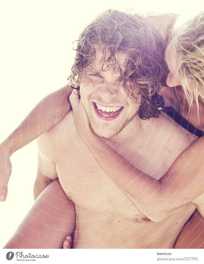 Woman Man Youth (Young adults) Sun Vacation & Travel Summer Beach Joy Love Laughter Couple Funny Swimming & Bathing Europe Smiling Infatuation