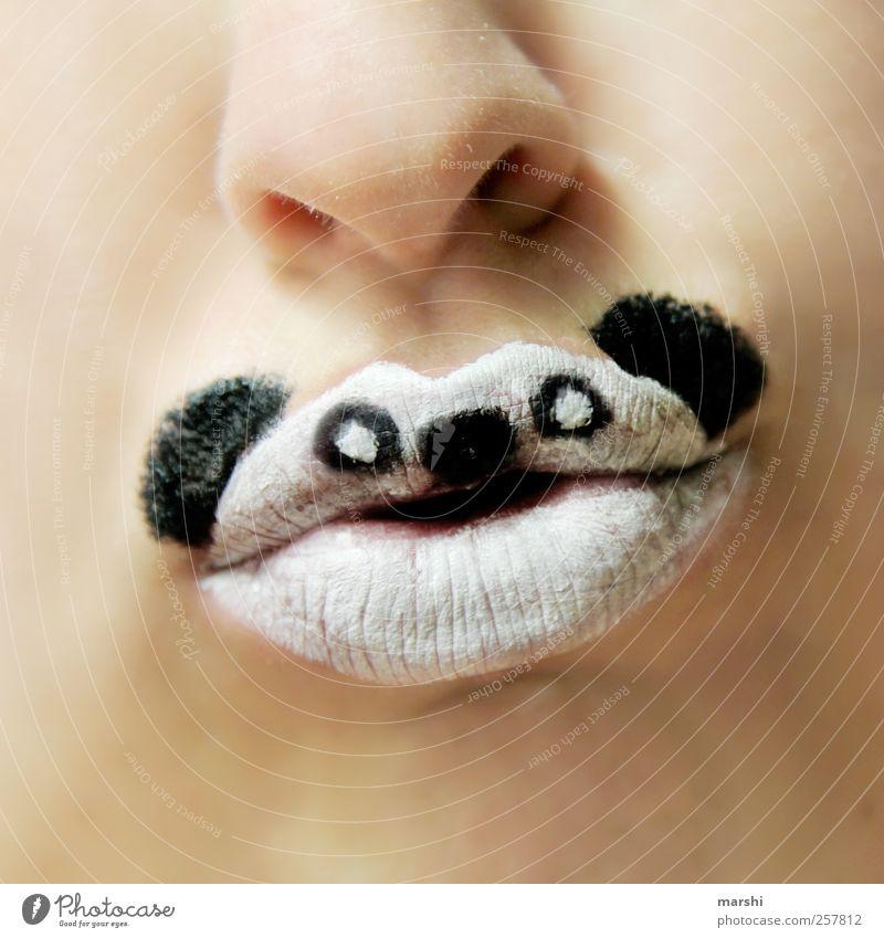 Give me bamboo! Human being Skin Mouth Lips Teeth Animal Animal face 1 Black White Panda Make-up Painted Carnival Endangered species Nose Hide
