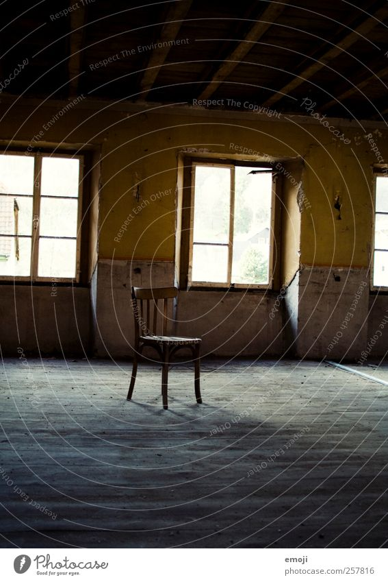 your place is free House (Residential Structure) Detached house Hut Wall (barrier) Wall (building) Stairs Window Old Yellow Chair Free space Empty Invitation