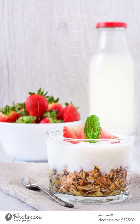 Yogurt with cereals and strawberries Yoghurt Cereals Strawberry Breakfast Fruit Healthy Healthy Eating Glass Vegetarian diet Meal Mature Berries Milk Dessert