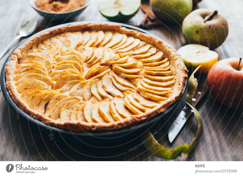 Apple tart on rustic background Fruit Dessert Breakfast Winter Table Autumn Warmth Wood Fresh Delicious Tradition Pie cake Baked goods sweet puff pastry custard