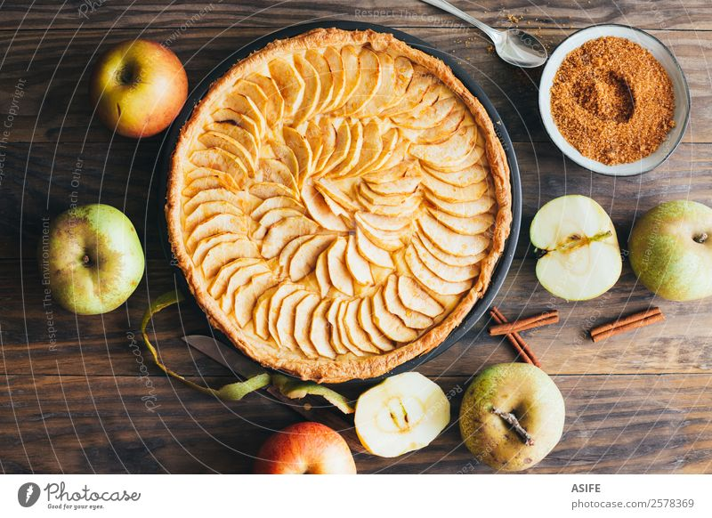 Traditional apple tart Fruit Apple Dessert Breakfast Winter Table Autumn Warmth Wood Fresh Delicious Pie cake Baked goods sweet puff pastry custard