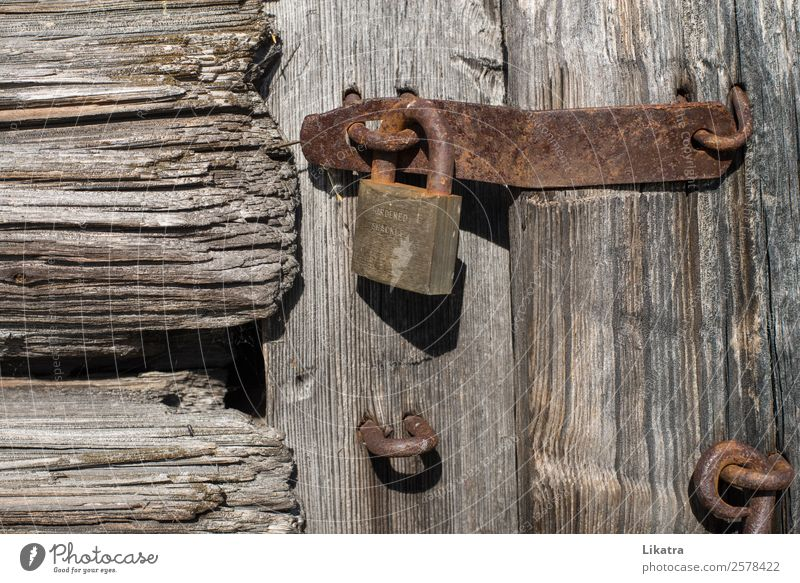 Closed Hut Barn Door Gate Wood Rust Lock Old Safety Protection Watchfulness Curiosity Discover Mysterious Idyll Bans Transience Time Dalarna Wooden house Stable