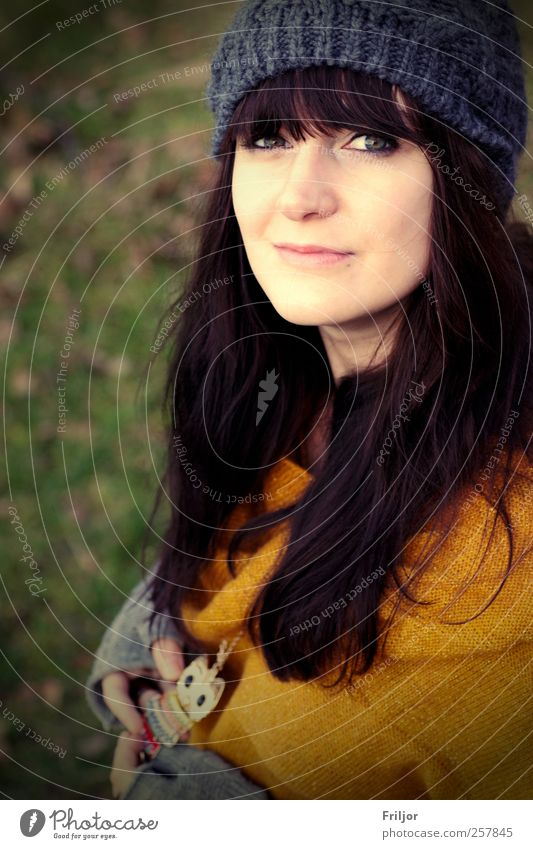 smiling Feminine Young woman Youth (Young adults) 1 Human being 18 - 30 years Adults Sweater Jewellery Cap Black-haired Brunette Long-haired Bangs Smiling