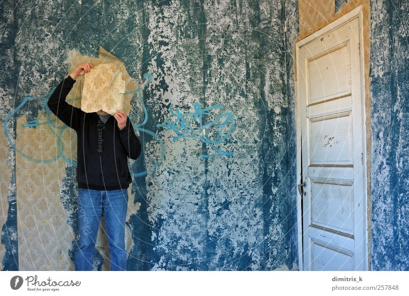 collective memory House (Residential Structure) Wallpaper Room Human being Ruin Door Paper Old Creepy Retro Blue Moody Bizarre Decadence Nostalgia Surrealism
