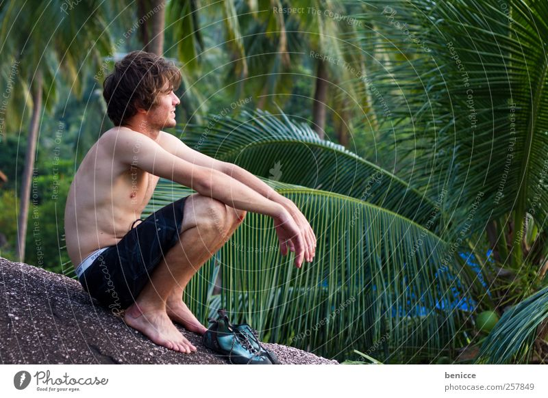 rocked Man Human being Youth (Young adults) Sit Climbing Relaxation Contentment Nature Hiking Think Meditative Spirituality empathetic Forest Summer European